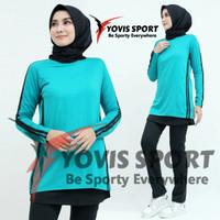Setelan baju Senam olahraga wanita celana panjang rok aerobik zumba - tosca, L