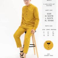 8105 Baju Muslim Pria E Long Kurta Set Mustard