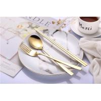 Sendok Garpu sumpit Korea Sujeo Korean Spoon Fork Set Stainless gold
