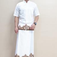 batik koko + sarung /celana sarung tumpal hitam & putih - XXL