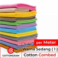 Kain kaos bahan kaos katun cotton combed 24s & 30s wrn sedang / meter