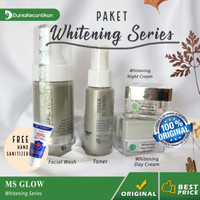 Ms Glow Paket Whitening Series Free Pouch - Cream Pemutih Wajah