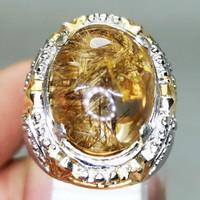 Batu Akik Cincin Kecubung Rambut Kinyang Emas Berkualitas