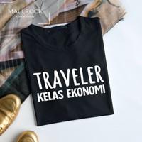 Kaos Distro Pria Baju Traveler Kelas Ekonomi Lengan Pendek - Hitam, M