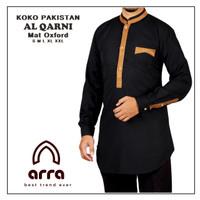 Baju Busana Kemeja Koko Muslim Al Qarni Cowok Laki Laki Pria Premium - S, Hitam