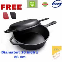 Panci wajan dutch oven Cast iron pan Combo Cooker 3.2 Quartz skillet