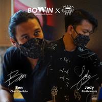 [Bowin X Rio Dewanto] Masker Bomber (Masker Kain 4ply / Masker Motor) - 4D BLACK DEWASA
