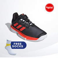 Adidas Solematch Bounce Black Red Tennis Shoes / Sepatu Tenis Original