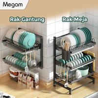 Megam Rak Piring Stainless Steel Rak Dapur HRM112 - Dinding 2 Susun