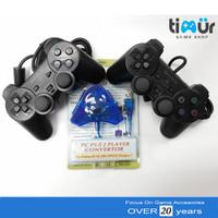 2 Stik Stick PS2 TW Hitam + Converter Double
