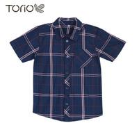 TORIO Casual Smart Shirt Navy Check - Kemeja Anak Laki-laki (6-12 Thn)