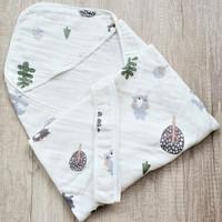 Selimut Topi Bayi Hoodie Blanket 85x85 - Cute Brown Bear