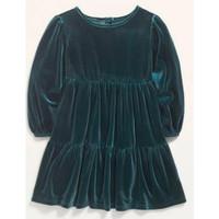 Dress velvet lengan panjang anak branded original old navy hijau