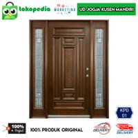KPD01 - Set kusen pintu utama pintu depan kayu mahoni