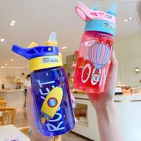 Botol Air Minum Anak dengan Sedotan BPA FREE/ botol minum anak lucu - kuning biru