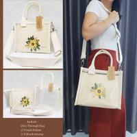 Tas Selempang Kanvas / Tas Kanvas Transparan Sling Bag - Bordir Custom