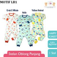Libby Piyama Setelan Panjang Baju Bayi SML kecil (6-18bulan) Mix Motif