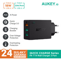 Aukey Charger PA-T14 3 Ports 42W Quick Charge QC 3.0 & AiQ - 500063