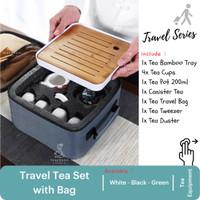Tea Travel Set with Bag Series - Keramik Teh Pot Cup Tray Bamboo