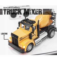 Mainan remote control truck mixer construction lightning diecast
