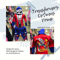 Setelan Baju Karakter Kostum Transformers Anak Laki Cowok Optimus