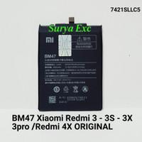 Baterai Xiaomi Redmi 4X 3 3S 3X 3Pro Xioami Redmi4x Model BM47 ORI