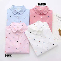 PROMO Baju Kemeja Fashion Leaf Motif Daun Lengan Panjang Wanita Murah - Baby Pink