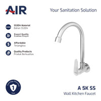 AIR Kran Dapur - Keran Angsa / Kitchen Faucet - Wall Mounted A 5K SS