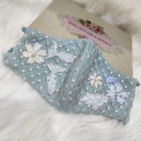 Masker kain brokat aplikasi biru 3ply /masker fashion/masker cantik