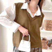 rompi vest wanita/ Rompi rajut - bronze, all size