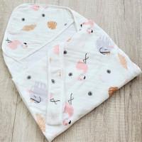 Selimut Topi Bayi Hoodie Blanket 85x85 - Flaminggo & Elephant
