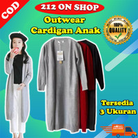Cardigan Anak Panjang Rajut Halus Outerwear Kids Long Cardy DOA014C - Hitam, Long