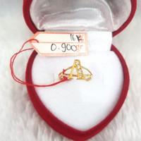 CA232G109G cincin emas anak inisial nama huruf A permata emas kuning