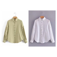 Atasan Wanita Blouse Lengan Panjang Polos Hijau / Putih Pearl Button