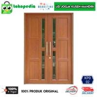 KPD02 - Set kusen pintu utama pintu depan kayu mahoni