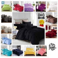 Bedcover Set Katun Polos Ungu 90x200x20 | Badcover | Bad Cover