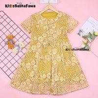 Dress Raisa uk 6-8 Tahun / Dres Brukat Anak Perempuan Gaun Pesta Murah