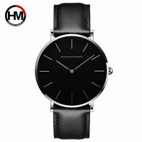 jam tangan pria HANNAH MARTIN Tali kulit original - silver black, 4cm