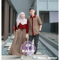Baju Batik Couple Muslimah Gamis Syari Muslim Pasangan Keluarga Drees