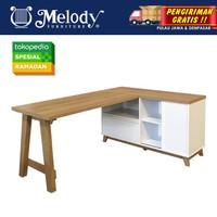 Furniture Meja L Meja Kerja STUVA DESK SANREMO OAK - WHITE GLOSSY