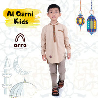 Baju Busana Kemeja Koko Muslim Anak Al Qarni Cowok Laki Laki Premium - 3-4 tahun, Cokelat
