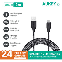 Aukey Cable CB-BAM2 2M Braided Nylon USB A to Micro USB Black - 500426