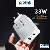 Kepala Charger PROLiNK 33W 2 Port QC 3.0 Fast Charging iPhone PTC23301