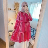 Baju Muslim Wanita Tunik Laura Motif Warna Pink Fanta Maxmara Busui