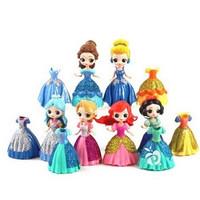 Princess Ganti Baju 6 Dress 12 Glitter Mainan Figure Pajangan Miniatur