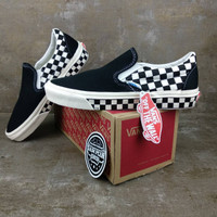 Sepatu Vans Slip On Catur Chekcerboard Sidewall black white premium
