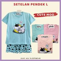 Setelan Pendek Kaos All Size Fit L / Baju Tidur Wanita