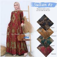 baju gamis muslim ibu ibu bahan adem ukuran besar real pict-sultan #2