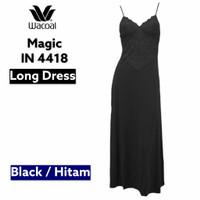Wacoal Lingerie Magic IN 4418 Long Dress Mewah Lace Gold Baju Tidur - Hitam, M