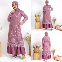 Gamis Aqila Brukat Tile Depan Belakang Maxi - pink gelap ungu